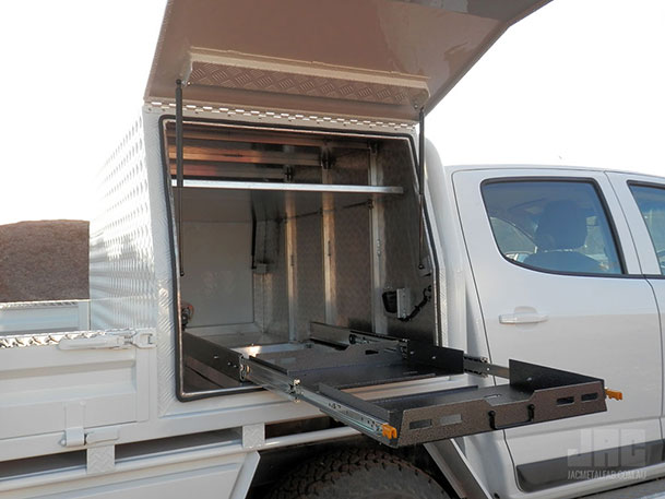Customise your JAC Canopy with shelves and a Fridge Slide